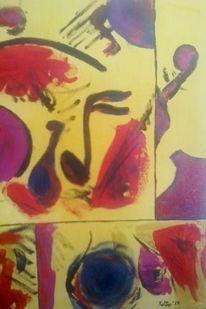 Gelb, Violett, Acrylmalerei, Lila