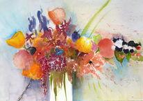 Blumen stillleben, Aquarell, Blumen, Lebensfreude