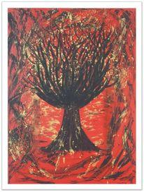 Acrylmalerei, Rot, Baum, Seele