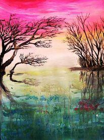 Acrylmalerei, Traum, Abstrakt, Neon