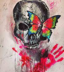 Bunt, Abstrakt, Neon, Acrylmalerei