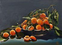 Aprikose, Äste, Schale, Ölmalerei