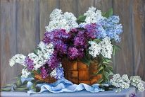 Korb, Ölmalerei, Blau, Blumen