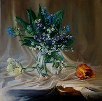 Grün, Blumenstrauß, Weiß, Glaswase