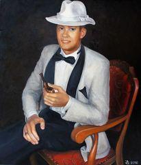 Anzug, Ölmalerei, Stuhl, Weiß
