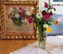 Pink, Blumen, Grün, Glasvase