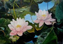 Wasser, Ölmalerei, Wasserlilien, Sommer
