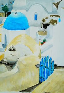 Weiß, Sonne, Häuser, Santorini