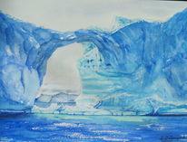 Eis, Blau, Wasser, Aquarell