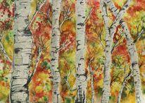 Birken, Herbst, Baum, Aquarell