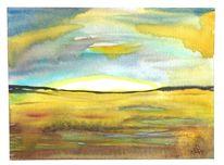 Abstrakt, Pfütze, Landschaft, Aquarell
