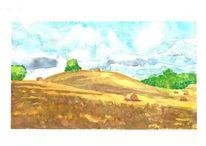 Wolken, Landschaft, Feld, Aquarell