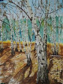 Winter, Birken, Wald, Aquarell
