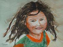 Portrait, Wild, Aquarellmalerei, Mädchen