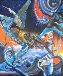 Fisch, Tänzer, Feder, Malerei