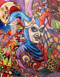 Rot, Blau, Portrait, Ölmalerei