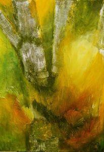 Acrylmalerei, Birkenwald, Mischtechnik