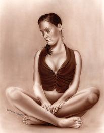 Bleistiftzeichnung, Lasurtechnik, Portrait, Acrylmalerei