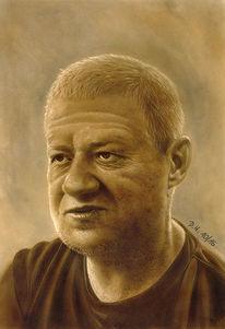 Portrait, Airbrush, Zeichnung, Grafit