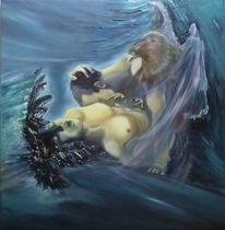 Ölmalerei, Frau, Surreal, Blau