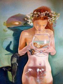 Ölmalerei, Katze, Schwimmerin, Erotik