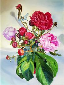 Ölmalerei, Gemälde, Malerei, Pfingstrosen