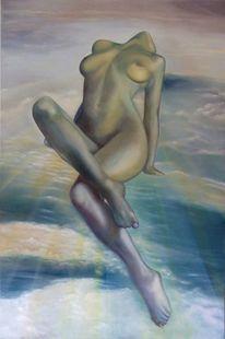 Ölmalerei, Frau, Menschen, Schwebend im licht