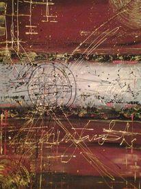 Acrylmalerei, Bunt, Rot, Struktur