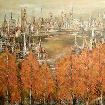 Park, Landschaft cuty, Stadt, Malerei
