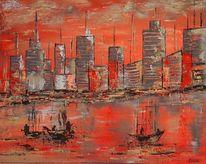 Meer, Stadt, Hafen, Sonnenuntergang