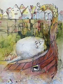 Zeichnung, Katze, Schiff, Häuser