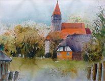 Rügen, Reet, Kirche, Landschaft