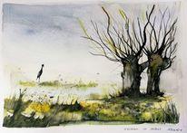 Baum, Weiden, Landschaft, Wiese