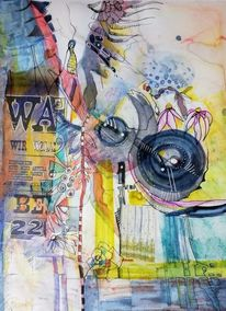 Western, Collage, Aquarellmalerei, Schrift