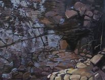 Ölmalerei, Modern, Wasser, Wald