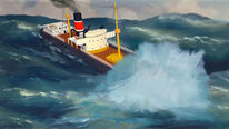 Dampfschiff, Meer, Sturm, Schiff