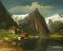 Fjord, Norwegen, Landschaft, Digitale kunst