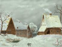 Winterlandschaft, Dorf, Schnee, Winter