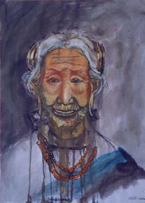 Stamm, Portrait, Malerei, Tibet