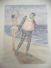 Figural, Aquarellmalerei, Skurril, Aquarell