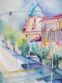 Architektur, Aquarellmalerei, Straßenansicht, Kroatien