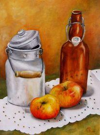 Flasche, Stillleben, Milchkanne, Ölmalerei