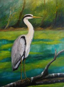 Naturalismus, Natur, Reiher, Malerei
