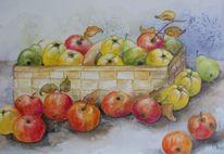 Korb mit früchten, Quitten birnen, Obsternte, Stillleben