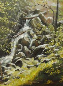 Ölmalerei, Schlucht, Österreich, Landschaft