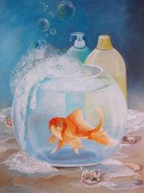 Stillleben, Seifenblasen, Umweltverschmutzung, Goldfischglas