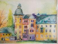 Region, Aquarellmalerei, Rheinlandpfalz, Architektur