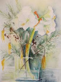 Zweig, Vase, Amaryllis, Aquarell