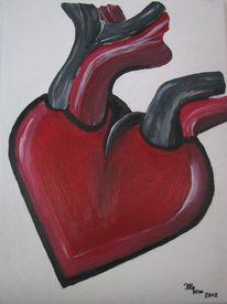 Rot schwarz, Herz, Malerei