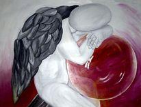 Kugel, Engel, Glaskugel, Rot schwarz